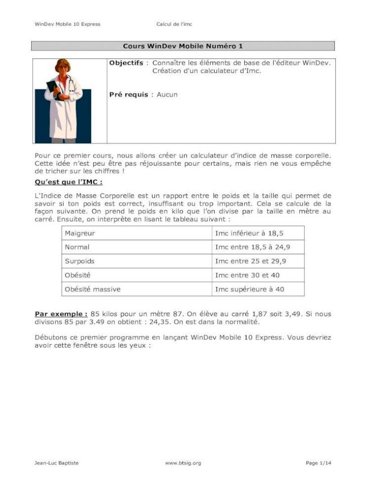 Cours Wmobile 1 Windev Tuto Windev Mobile 10 Express Calcul De L Imc Jean Luc Baptiste Page Pdf Document