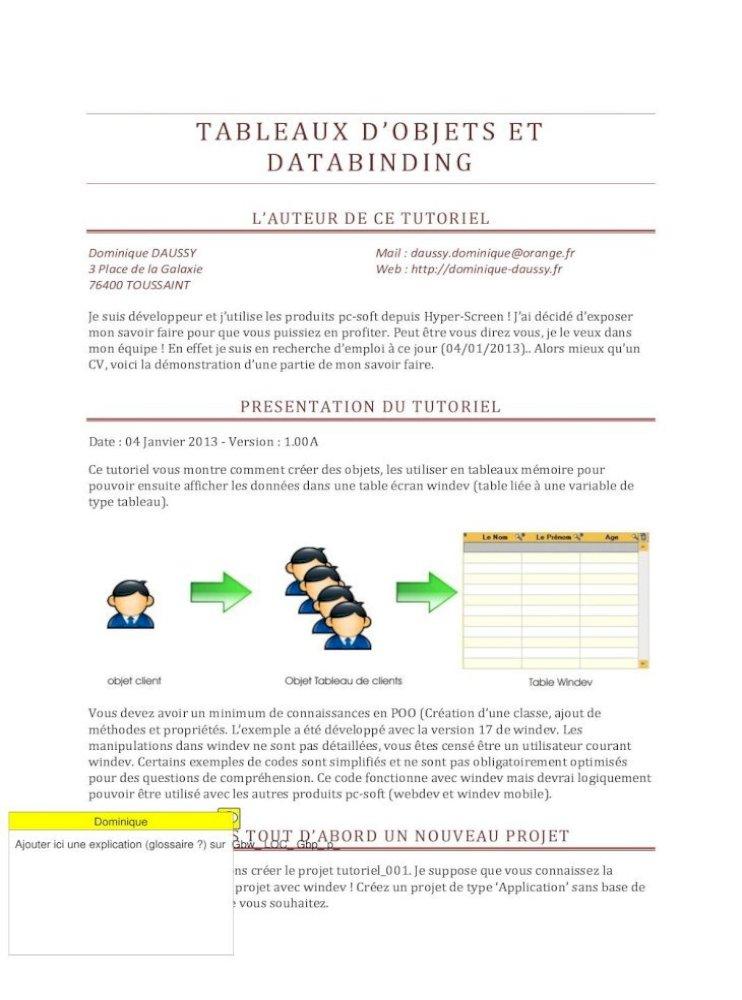 Tableaux D Objets Et Databinding Dominique Dans La Fenetre Qui Apparait Saisissez P Nom Pdf Document