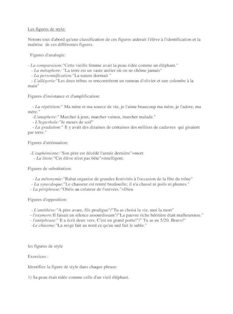 Exercices Portant Sur Les Figures De Style Pdf Document